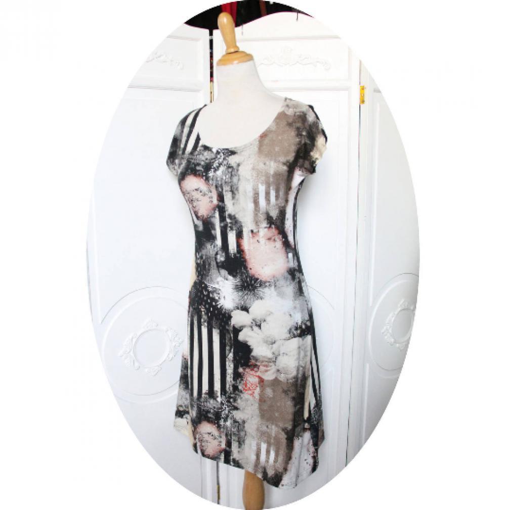 Robe courte en jersey de coton imprimé en coloris sable beige et noir à rayures noires et motif floral--9995541013712