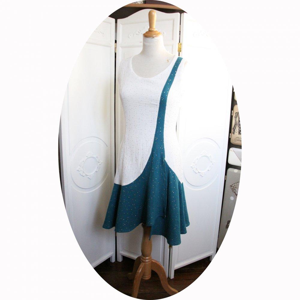 Robe courte style années 20 en coton double gaze pailletée dorée--9995968681457