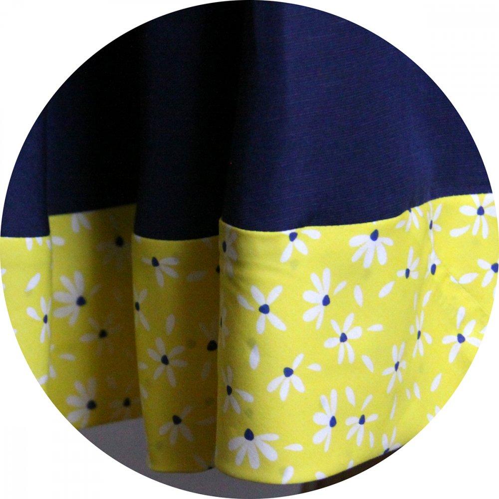 Robe d'été bleu marine et jaune esprit Pin Up avec une jupe évasée--2226246017567