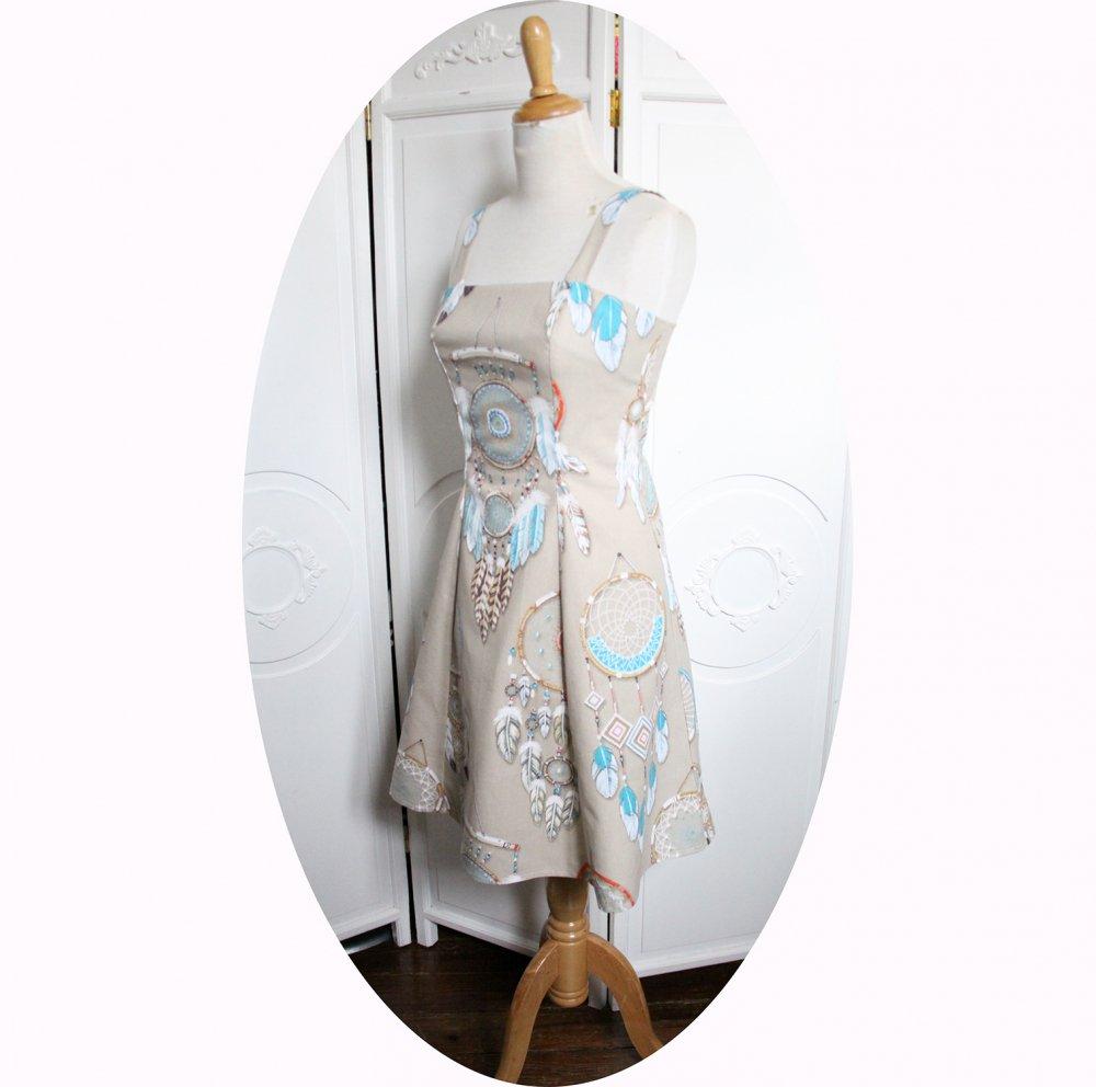 Robe d'été courte cintrée et évasée à bretelles en coton beige imprimé d'attrapes rêves turquoise--9995884132743