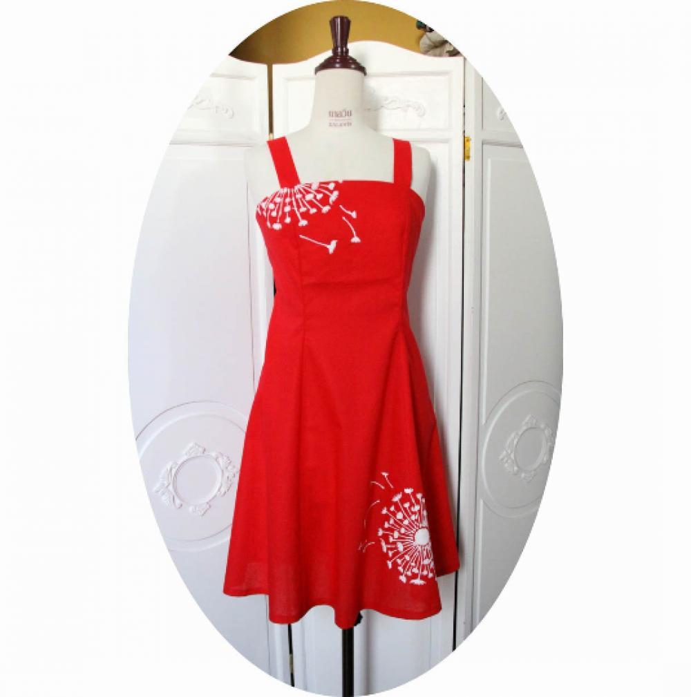 Robe d'été courte cintrée et évasée à bretelles en lin rouge motif fleur de pissenlit blanc--9995541109422
