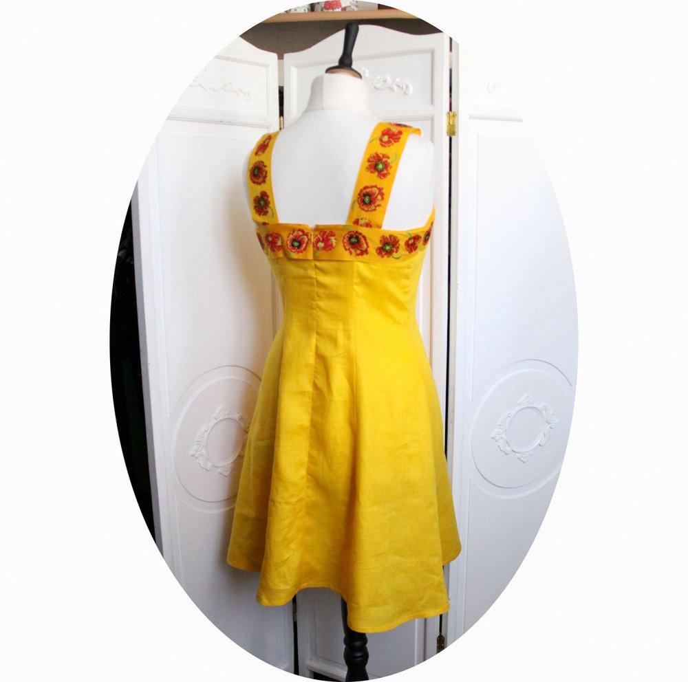 Robe pur lin jaune aec bandeau et bretelles coquelicot rouge--9995968667543