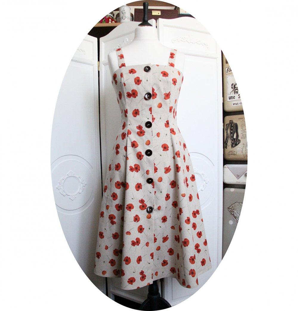 Robe mi longue coquelicots rouges sur fond lin boutonnée devant--2226246021939