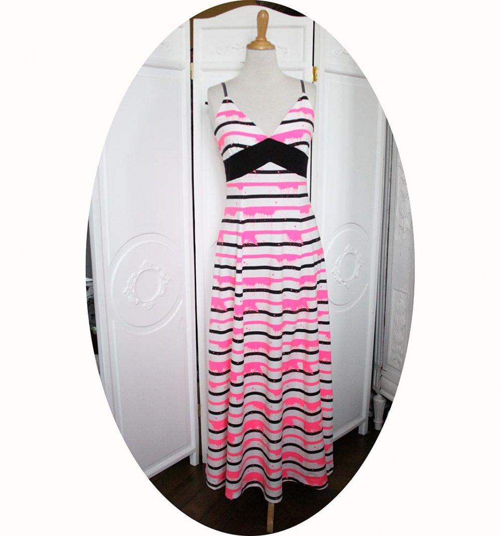 Robe longue taille haute à bretelles jersey de coton rayé noir et rose néon--9995856834439