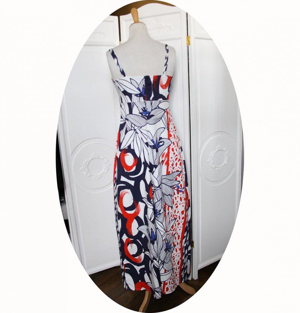 Robe longue taille haute à bretelles en satin de coton bleu marine et rouge--9995856825000