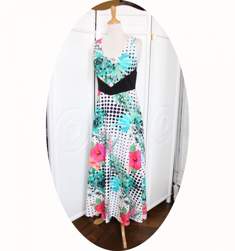 Robe longue taille haute en jersey de coton blanc à pois noirs et motif floral--9995856839816