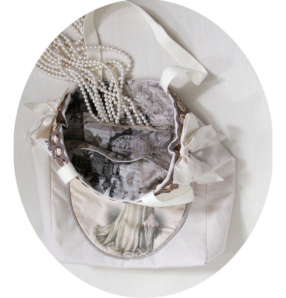 Sac cabas écru Gravure de Mode robe ivoire et guipure beige--9996137654791