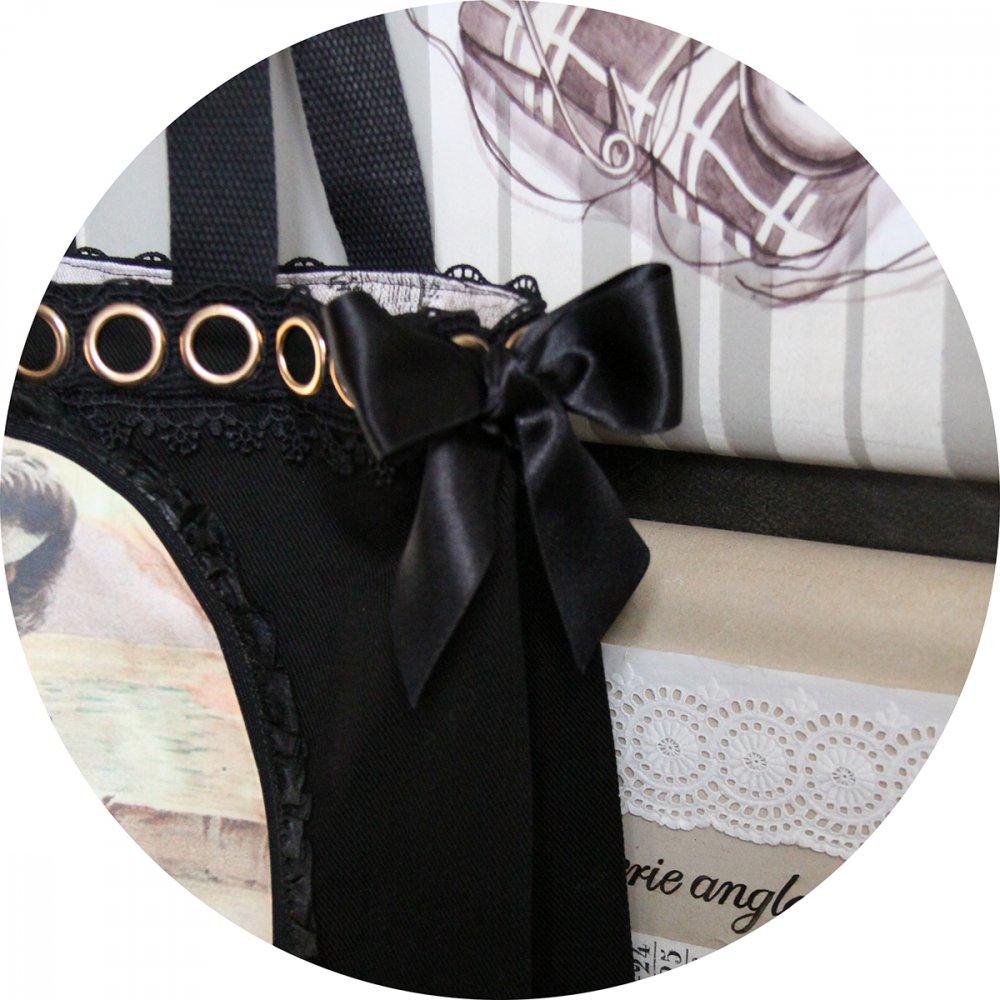 Sac cabas noir Gravure de Mode robe noire et blanche et guipure noire--9996137648882