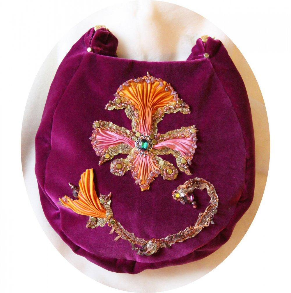 Sac a main en velours violet et broderie au ruban de soie, doublure soie, sac en velours brode,sac brode fleur de lys--9995496195549