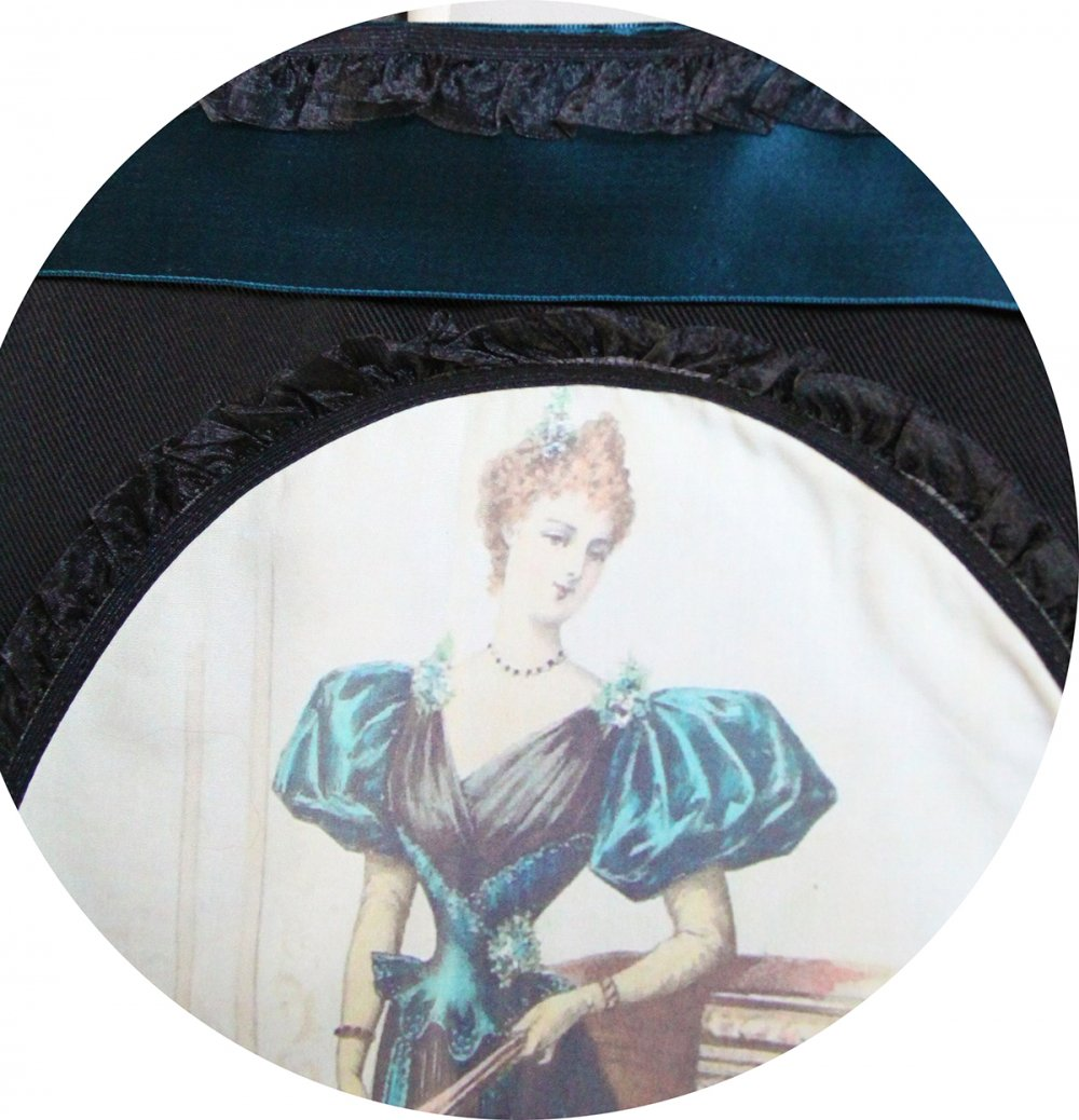Sac Tote bag noir Gravure de Mode robe bleu vert et ruban ancien--9996137639873