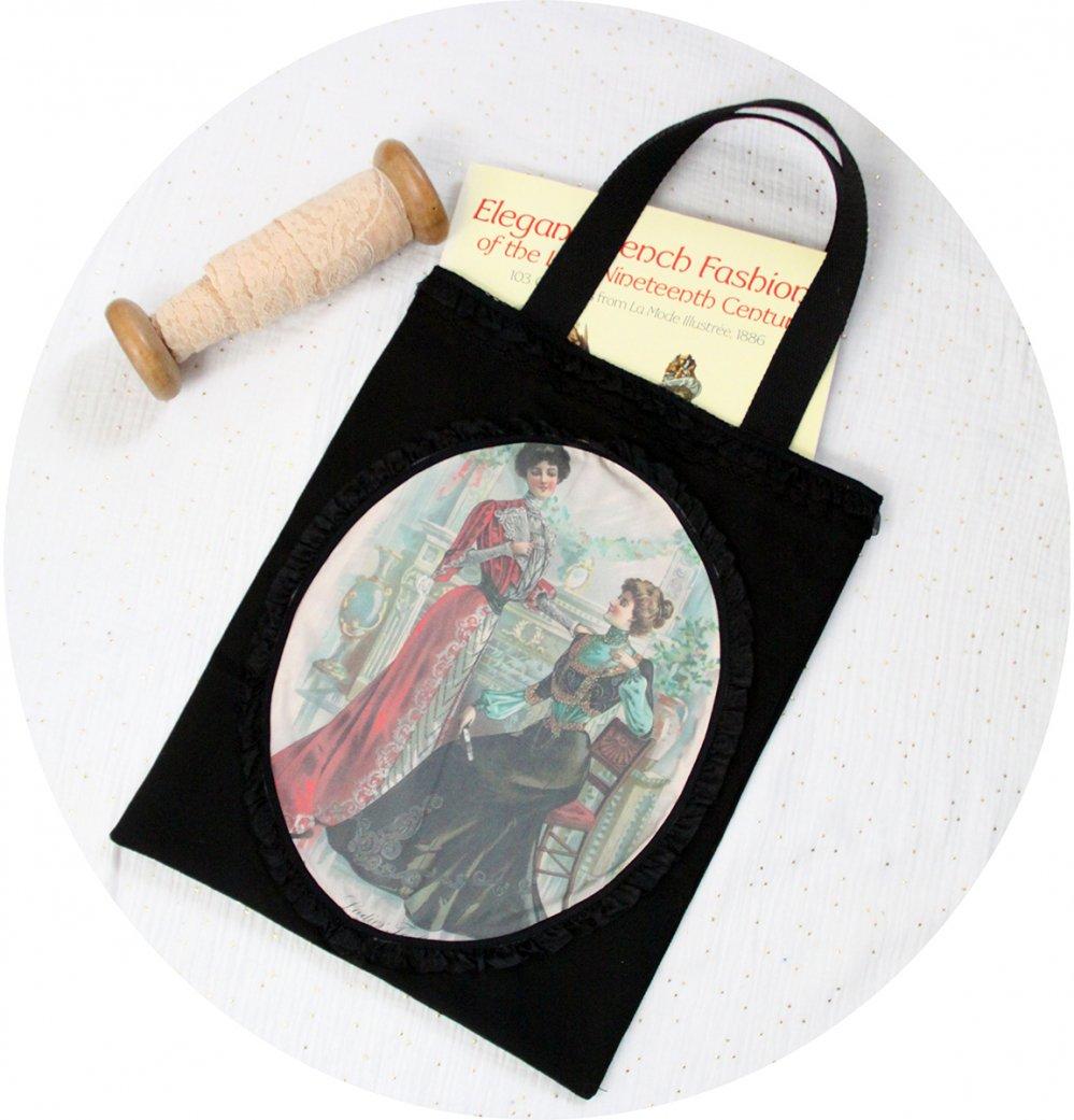Sac Tote bag noir Gravure de Mode robes Belle Epoque et dentelle noire--9996137646017