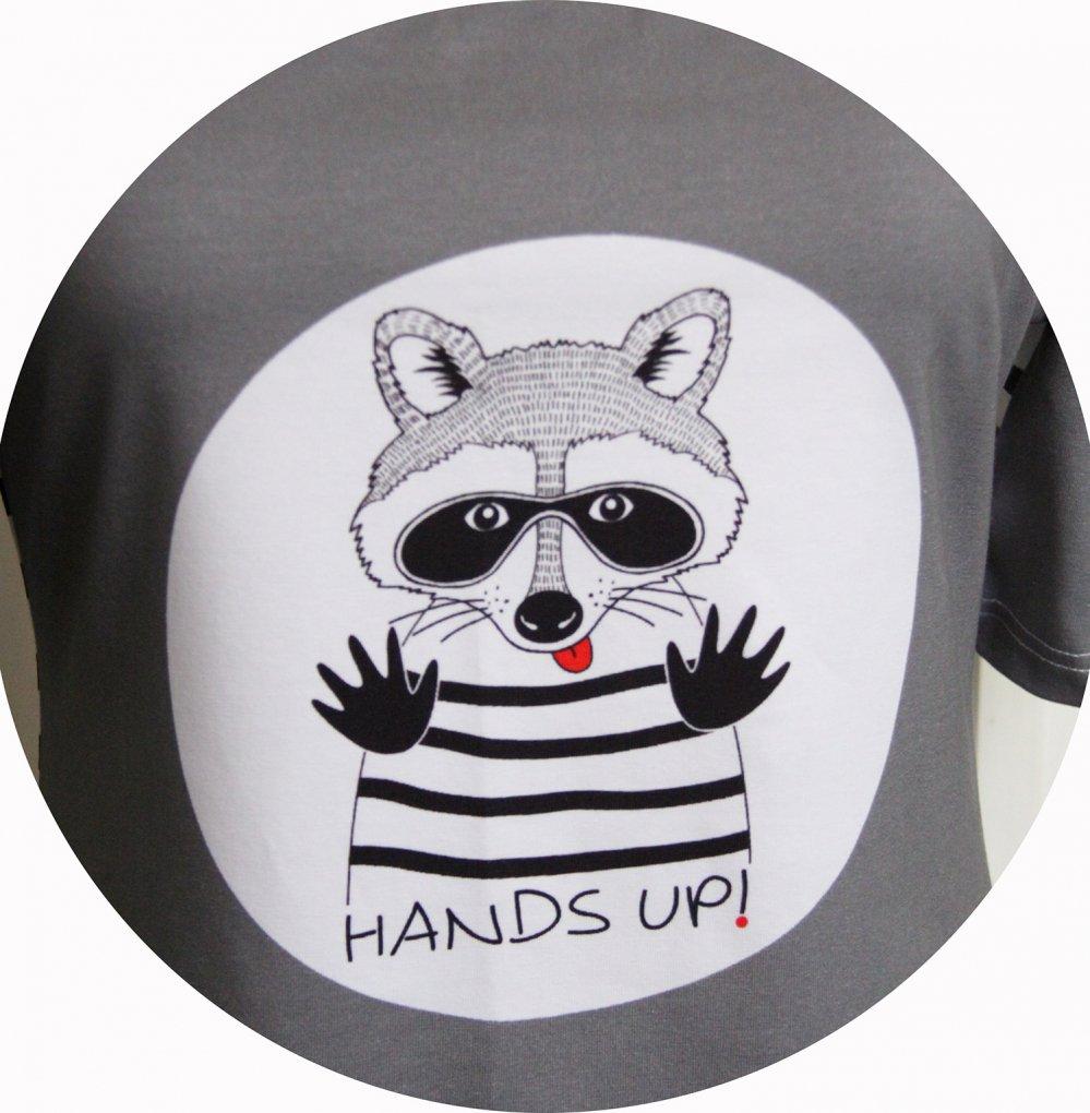 Top P'tit Basique manches courtes gris motif raton laveur en jersey de coton gris et blanc--9995884277550