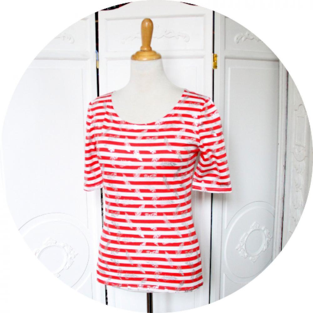 Top P'tit Basique tshirt marinière manches trois quart à rayures rouges et blanches imprimé de plumes argent--9995682742908