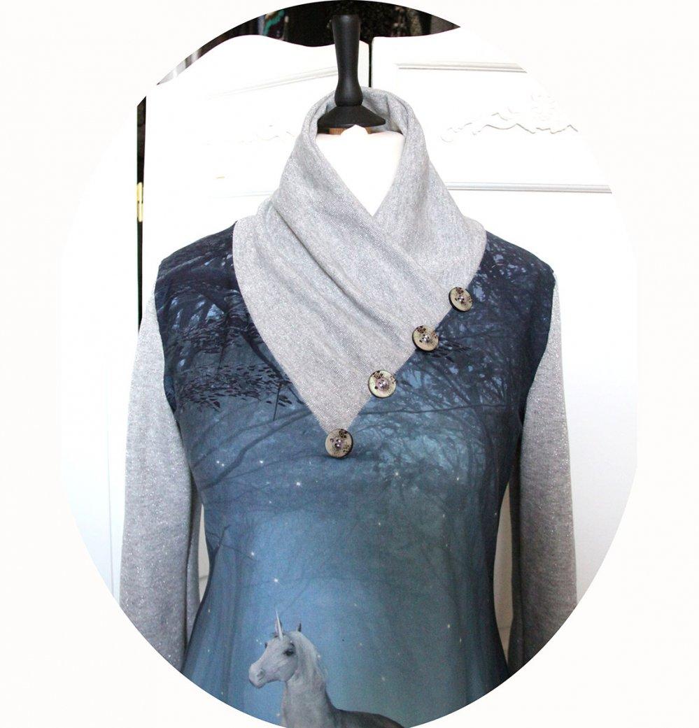 Tunique Licorne longue à col écharpe et manches longues en maille de coton imprimée et gris argent--9995699144627