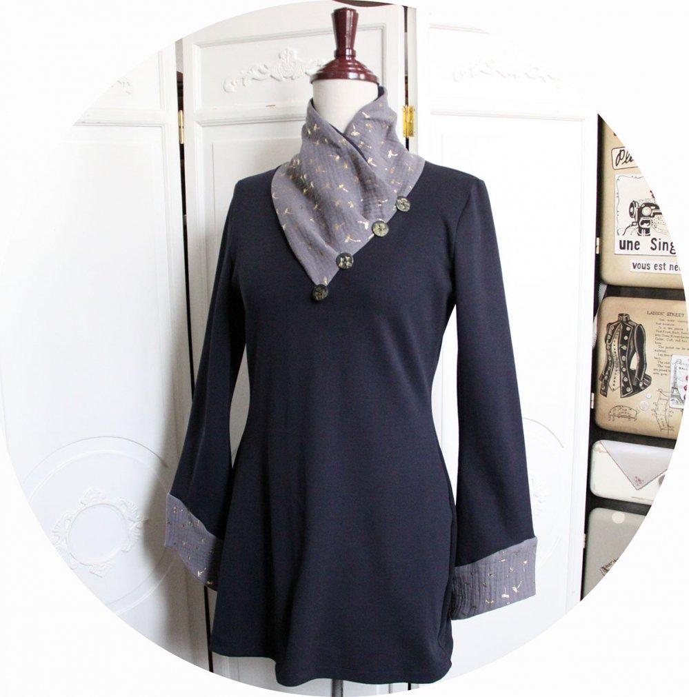 Tunique longue à col écharpe et manches longues en maille de coton bleu marine et double gaze pissenlit--9995999165438