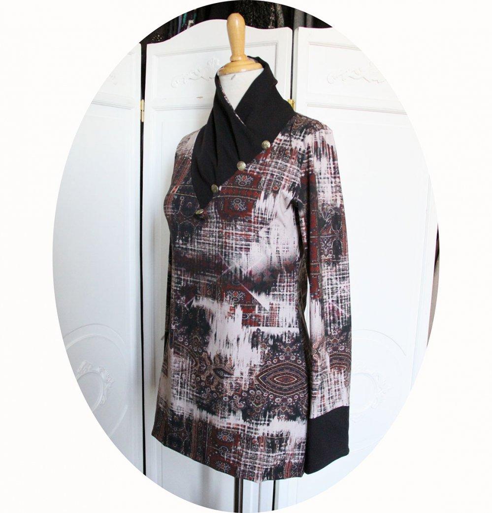 Tunique longue à col écharpe et manches longues en maille de coton imprimée bordeaux et noir uni--9995699131436