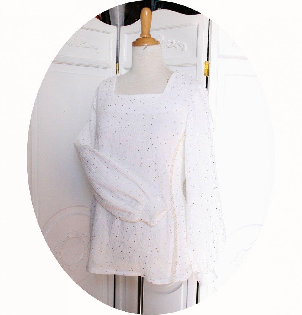 Tunique souple à manches longues en double gaze de coton blanc à pois dorés--9995849574519