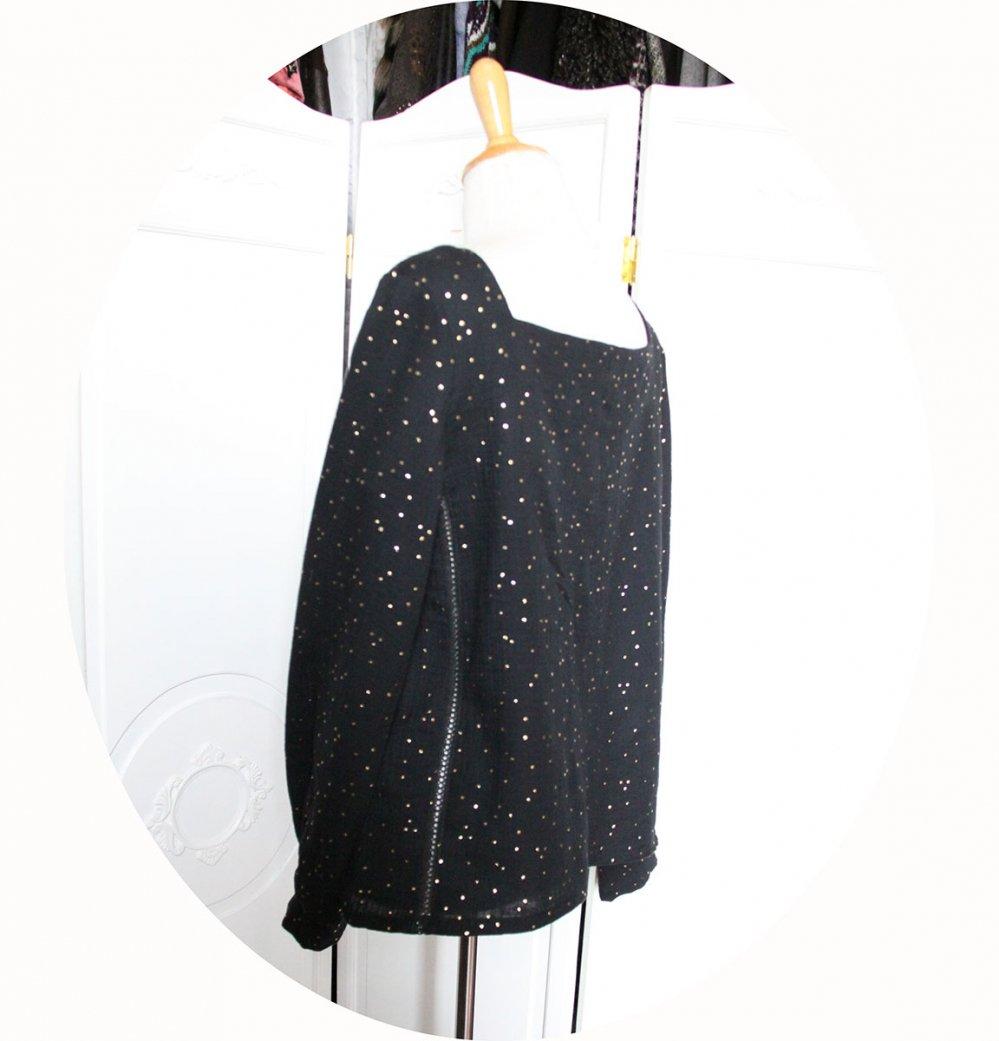Tunique souple à manches longues en double gaze de coton noire pois dorés--9995849566460