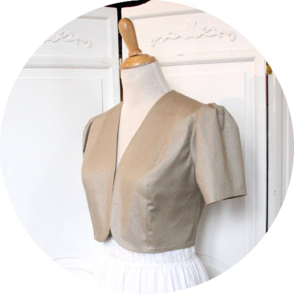 Veste courte ou boléro en coton stretch doré avec un col en V et de petites manches ballon--9995676717806