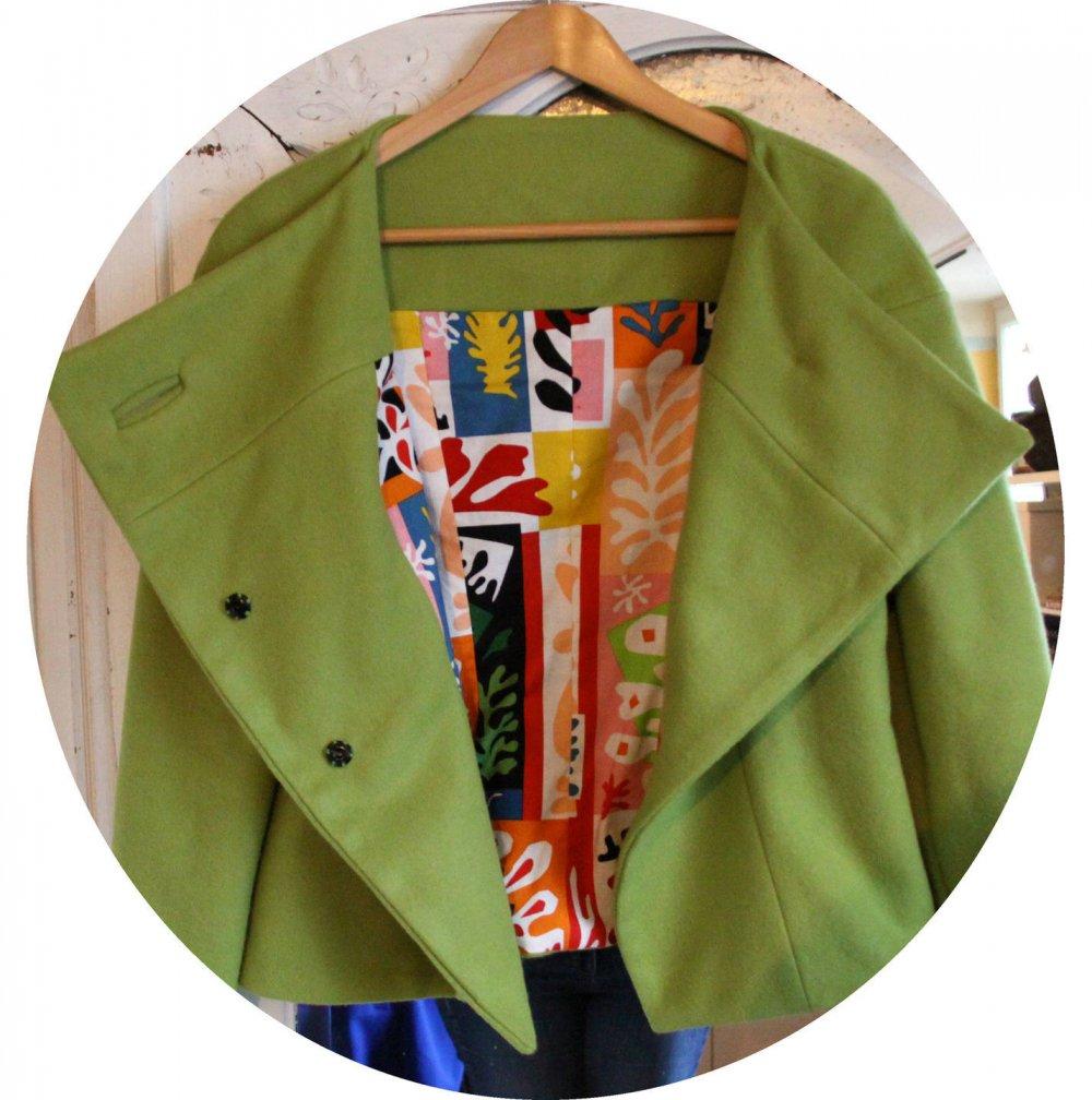 Veste courte en laine vert anis, paletot style annees 60, doublure coton matisse, manteau court en laine et coto, manteau hiver en laine--9995496193538