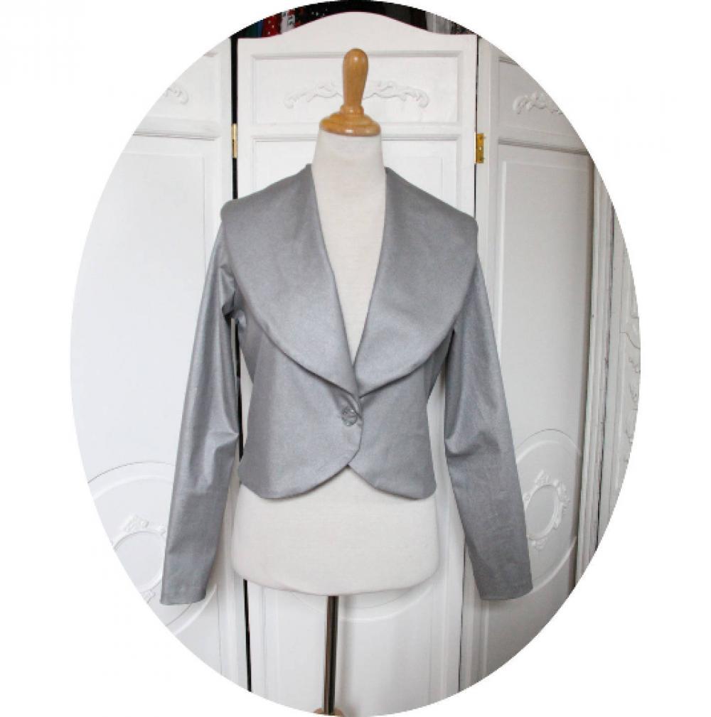Veste courte à manches longues en coton stretch gris argent à grand col chale--9995921585372
