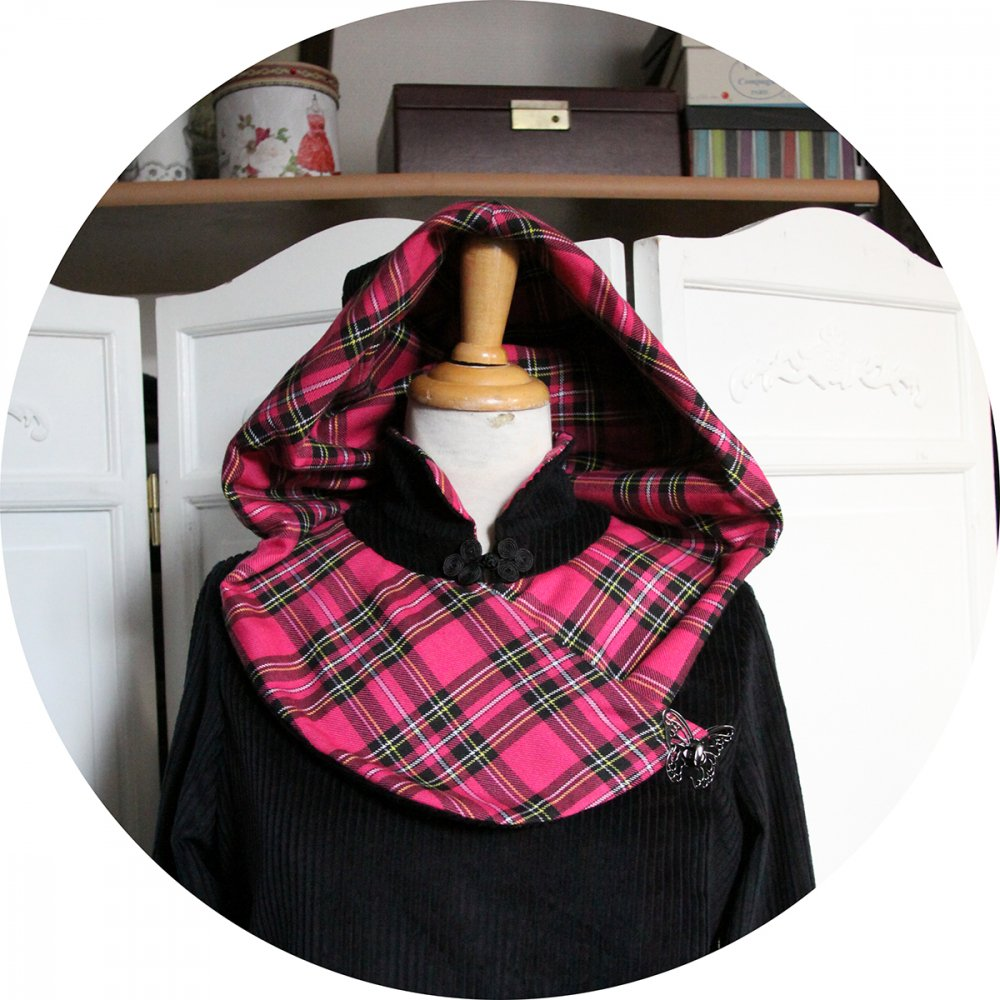 Veste croisée en laine velours noir et tissu écossais rose--9996075903692