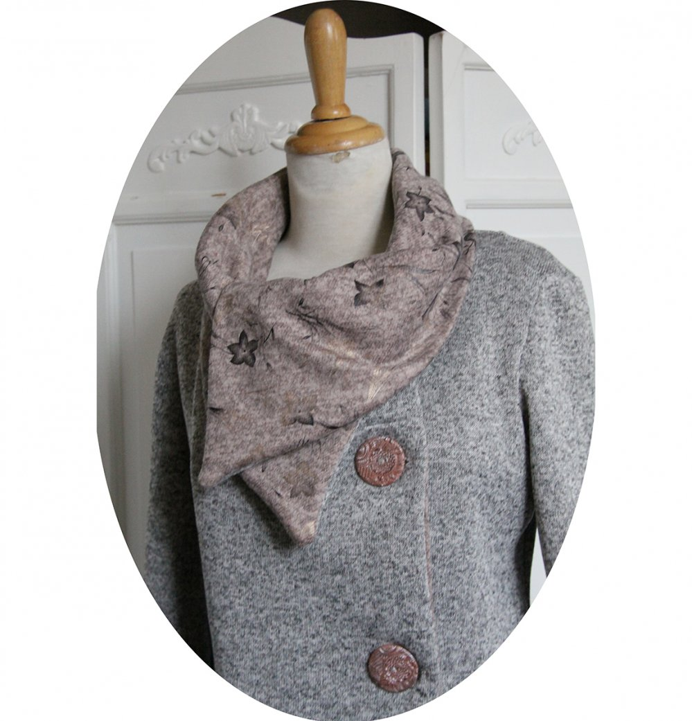 Veste croisée souple à grand col en maille chiné gris clair et molleton rose clair--9996046980851