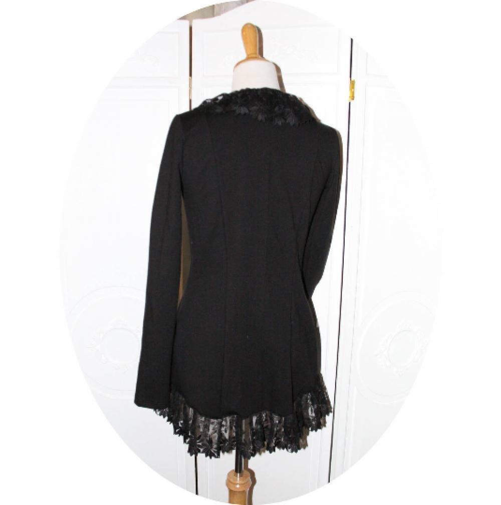 Veste gilet à manches longues en maille jersey de coton noire en dentelle forme légèrement queue de pie--9995574319928