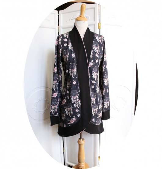 Gilet très long à poches en jersey de coton noir Attrape Rêve