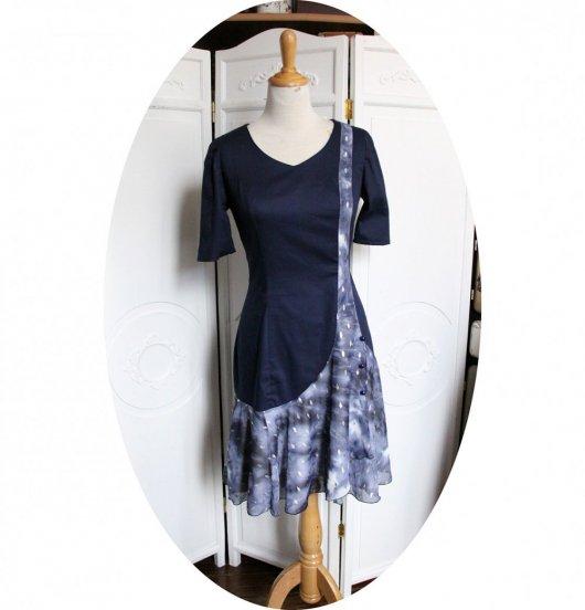 Solde pour Robe courte style années 20 bleue marine
