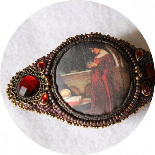 Barrette Boule de Cristal bordeau et bronze brodée de perles 7cm