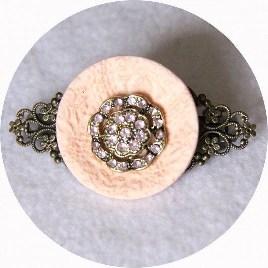 Barrette boutons rose corail et bronze longueur 8cm