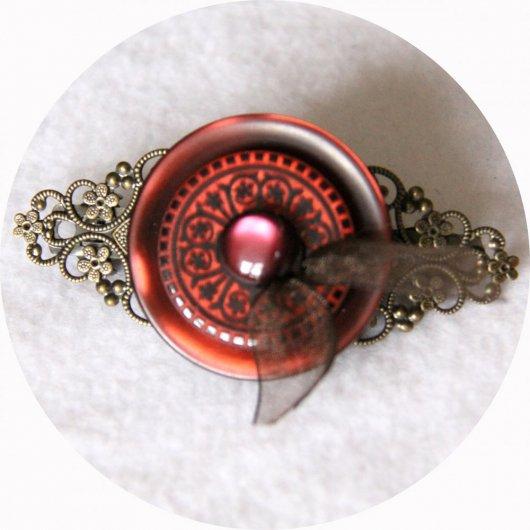 Barrette boutons rouge bordeau et bronze longueur 8cm
