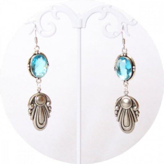 Boucles d'oreille Egypte bleu et argent