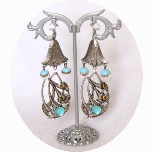 Boucles d'oreille fleur de lotus argent et verre filé bleu