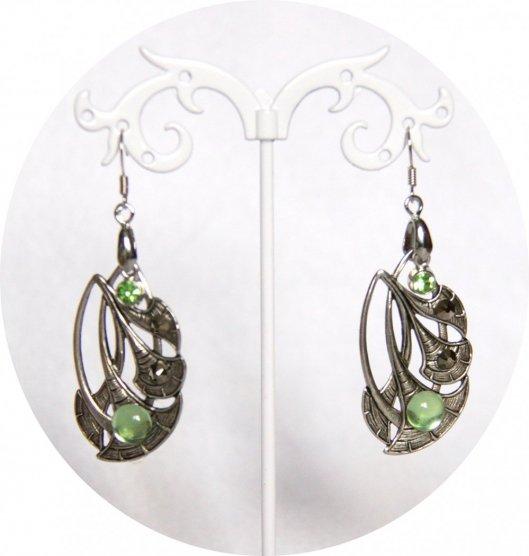 Boucles d'oreille fleur de lotus argent et verre vintage vert