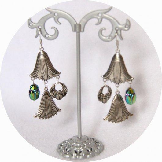 Boucles d'oreille Scarabée et fleur de lotus argent et cristal Swarovski