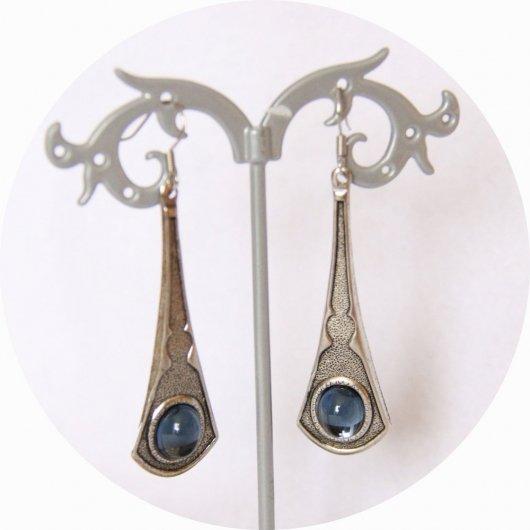 Boucles d'oreilles baroque pendantes bleue et argent