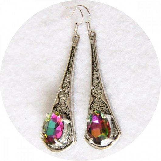 Boucles d'oreilles baroque pendantes vitrail et argent