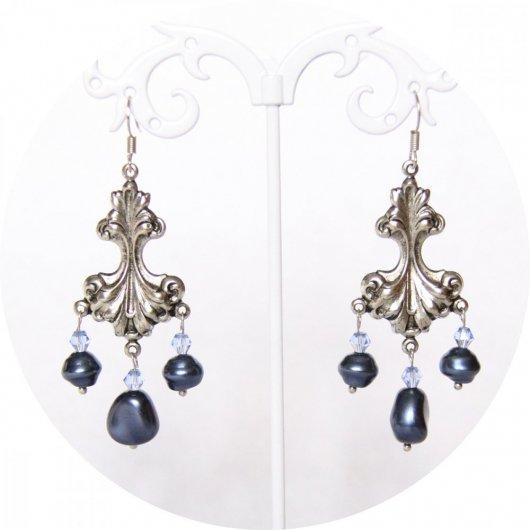 Boucles d'oreilles baroques argent et nacre bleue