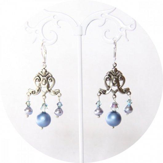 Boucles d'oreilles baroques argent et nacre bleue ciel