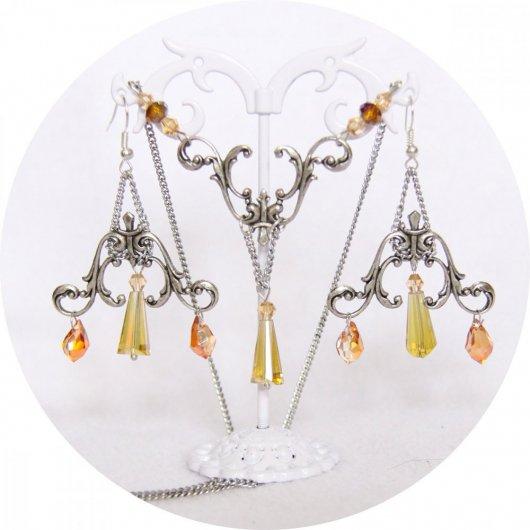 Boucles d'oreilles baroques argent et perles goutte en jaune et orangé