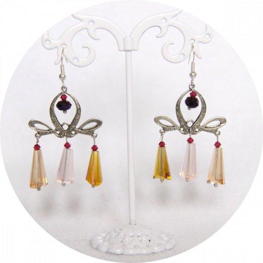 Boucles d'oreilles Art Nouveau argent et perles goutte en jaune et rose