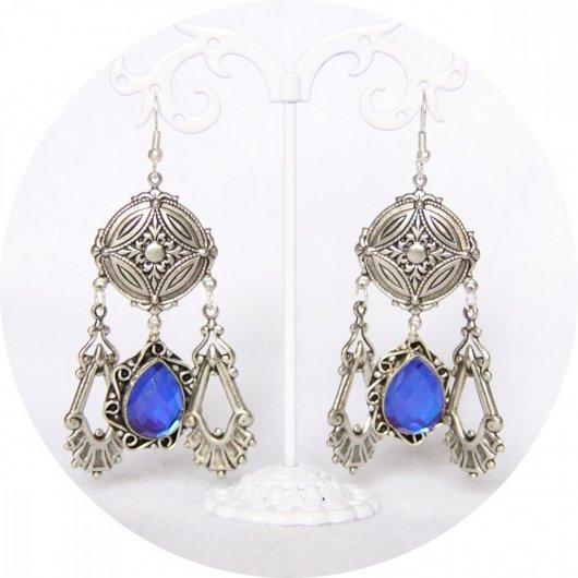 Boucles d'oreilles pendantes baroques argent et bleu saphir