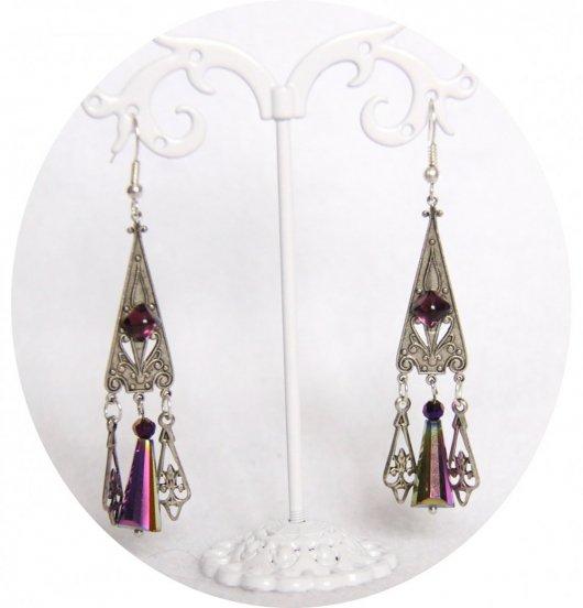 Boucles d'oreilles pendantes baroques argent et mauve