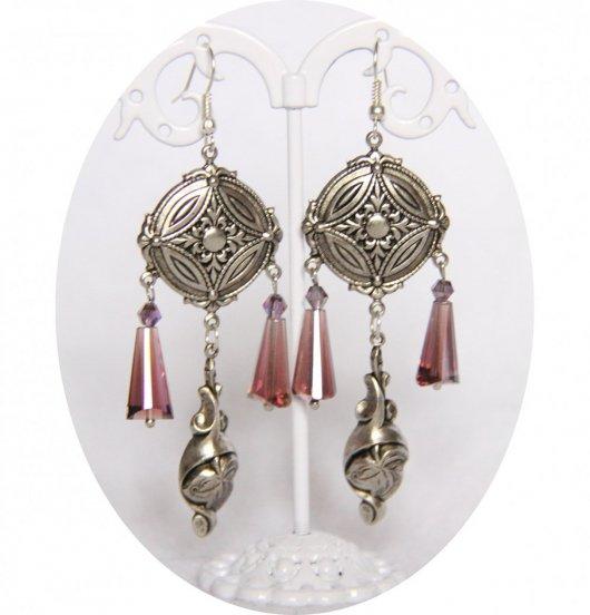 Boucles d'oreilles pendantes médiévales argent et bleu ou mauve