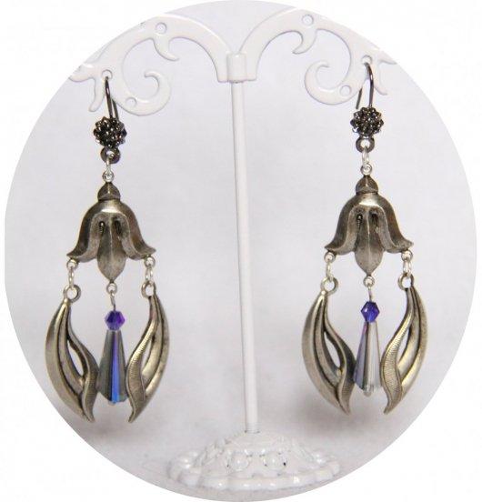 Boucles d'oreilles pendantes Art Nouveau argent et bleu ou vert