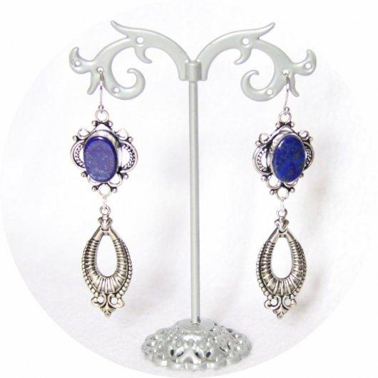 Boucles d'oreilles rétro baroque bleue en lapis lazuli avec pampille art déco argentée