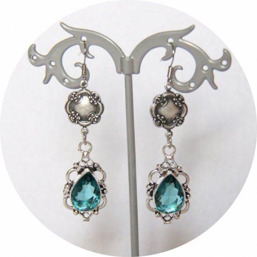 Boucles d'oreilles rétro baroque bleues avec pampille art déco argentée