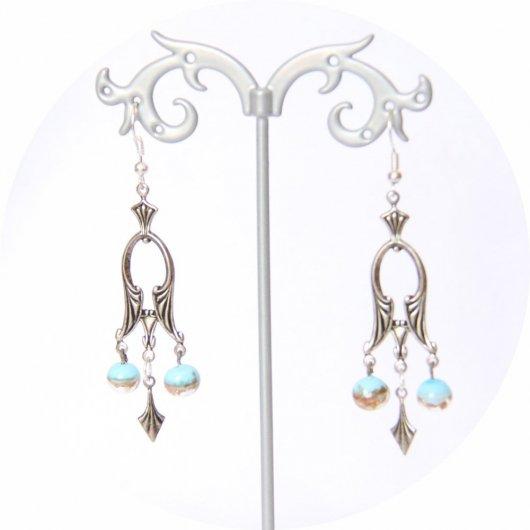 Boucles d'oreilles rétro baroque pampille art déco argentée et perles bleu et or
